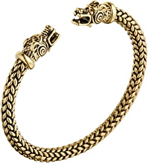 AILUOR Men's Double Head Dragon Bracelet, Norse Viking Adjustable Stainless Steel Gold Sliver Cuff Cool Polished Twisted Arm Ring Cable Bangles Pagan Jewelry