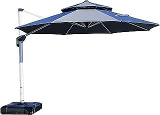 PURPLE LEAF 11 Feet Double Top Round Deluxe Patio Umbrella Offset Hanging Umbrella Outdoor Market Umbrella Garden Umbrella, Grey