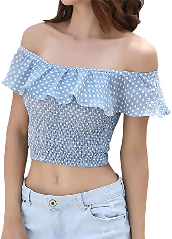 Mujer Verano Crop Tops Elegante Slim Fit Camisas Cuello De ...