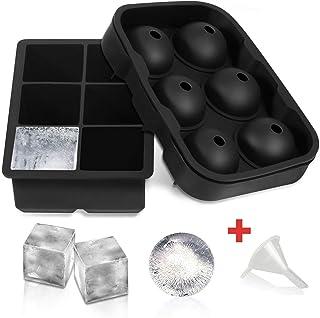 Juego de 2 bandejas para cubitos de hielo, silicona flexible