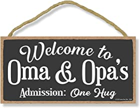 Honey Dew Gifts Welcome Wooden Hanging Signs, Welcome to Oma and Opa's, Welcome Home Signs for House, 5 inch by 10 inch We...