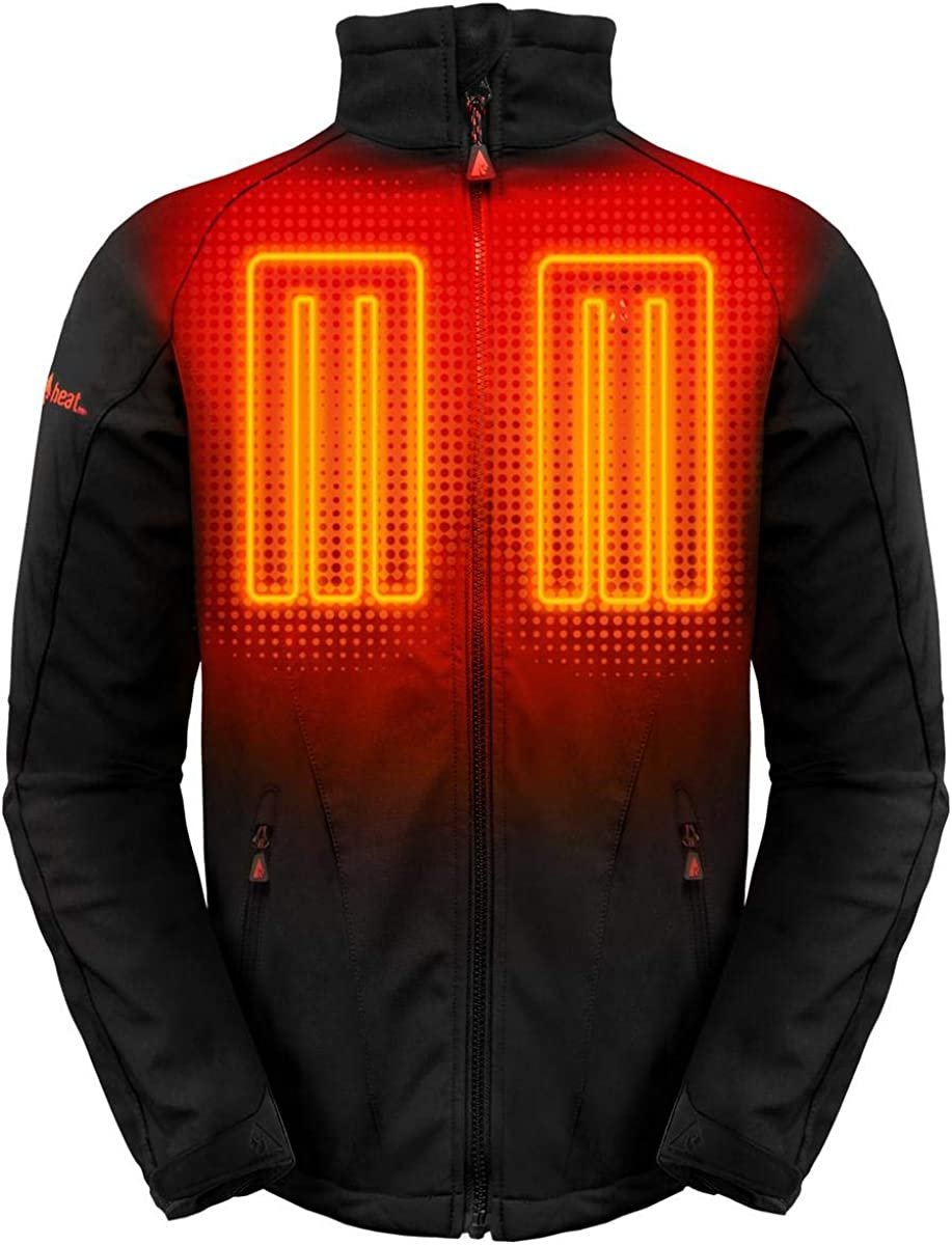 ActionHeat 5V Men's Battery Heated Jacket with Tri-Zone Heating, Touch Control for Skiing, Camping, Motorcycling, Hiking