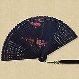 QIANWEIXI Abanico Plegable De Mano Verano Mujer Planta Negra China Ciruela Roja Abanico Mano...