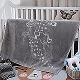 i-baby Manta Bebé Recién Nacido Mantas para Cuna Cama Infantil Mantas Infantiles 110 x 140 cm Manta Terciopelo Grande Gris...