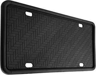 Kribin License Plate Frame, 9 Drainage Holes Rain-Proof Anti-Rust Anti-Rattle Silicone License Plate Holder for Car - Black