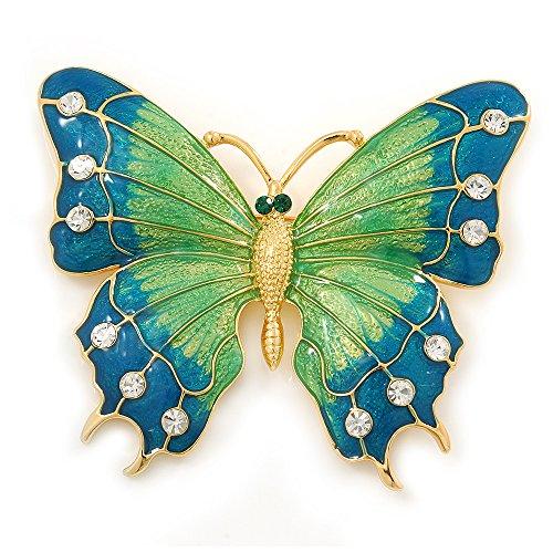 Preisvergleich Produktbild Oversized,  Aquarmarin Grün,  Emaille-Schmetterling,  Brosche (Goldblech)