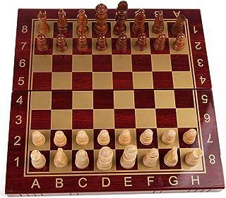 Luckyw Trä schack bärbar schackbräde schackspel Internationellt schackset för fest familjeaktiviteter schack
