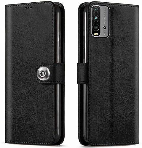 TheGiftKart Genuine Leather Finish Flip Cover for Redmi 9 Power Inside Pockets Inbuilt Stand Wallet Style Back Case Designer Button Magnet Closure Black