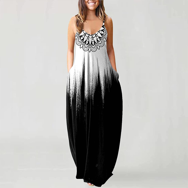 Eduavar Dresses for Women Casual Sleeveless Gardient Printed Summer Spaghetti Strap V Neck Cami Sundress Maxi Long Dress