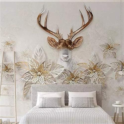 NIXI Stickers muraux Papier peint 3D Rétro Elk Fleurs élégant Minimaliste 3D Stéréo Tv Fond Peinture Murale Art Decal Mural,200  140cm,
