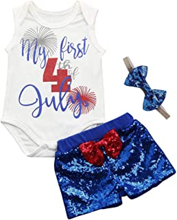 Swyss 3pcs Toddler Baby 4th of July Romper Bodysuit + Sequin Shorts and Headband