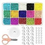 Juland - Juego de cuentas de 15 colores, cuentas de 3 mm, tamaño mini, color opaco, cuentas redondas brillantes de color arcoíris con caja de contenedor, hilo elástico, anillos, cierres de garra, etc.