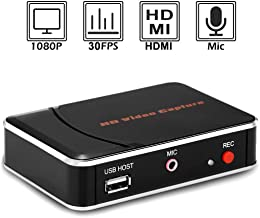 EpRec HDMI Game Capture Card HD Video Record 1080P HDMI Capture Device for Xbox One/Xbox 360/ PS4/ Wii U/Nintendo Switch etc. Support Mic in