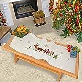 Kamaca Kit de broderie au point de croix avec chemin de table et fil à broder 100% coton Motifs rennes et père Noël sur son traîneau pré-imprimés 40 x 100cm