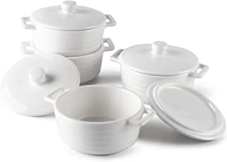 Sweese 510.401 Porcelain Ramekins, 7 Ounce Round Mini Casserole Dish with Lid, Set of 4, White
