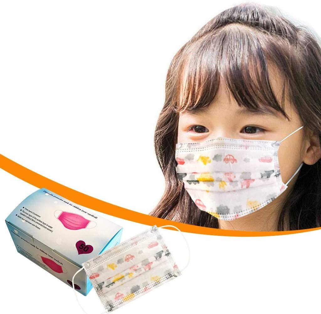 A Breathable Comfortable Dust-Proof Protection,for School,Indoor and Outdoor Use DIMB 100PC Child 3-Layer Non-Woven Fabric Printing Face Shields