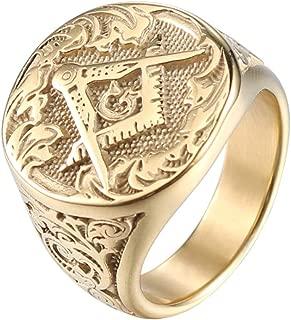 Men's Masonic Freemason Gold Plated Stainless Steel Rings Classic Master Mason Signet Band Jewelry