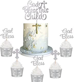 JeVenis Set of 25 Silver God Bless This Child Cake Topper Baptism Cupcake Topper God Bless Cupcake Topper Christening Cake Topper Christening Cupcake Toppers Holy Communion Cake Topper