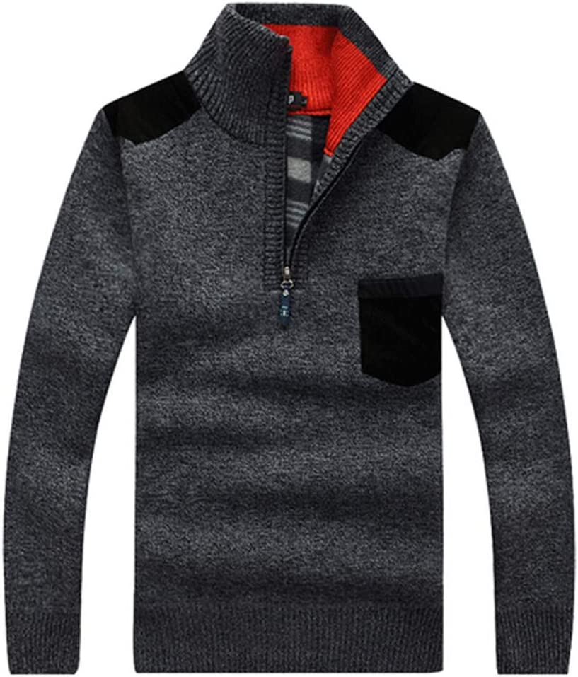 Hzikk Winter Sweaters Men's Pullovers Warm Thick Knitwear Mens Sweater Casual Cashmere,Gray,M