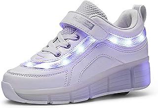 Unisex Niños Led Luz Zapatillas con Ruedas Automática de Skate 1 Ruedas/2 Ruedas Zapatos Patines Deportes Zapatos con USB Carga para Niños Niñas