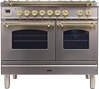 Ilve 2 Piece Kitchen Appliances Package with UPN90FDMPIX 36 Dual Fuel Gas Range and Forte TEGA36 36 Wall Mount Convertible Hood in Stainless Steel Made in Italy