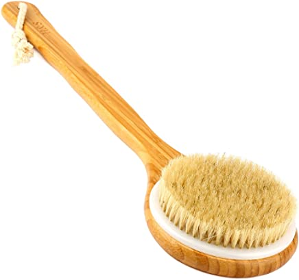 H&S Body Brush Back Scrubber Long Handle Bath Shower Brush Natural Bristles Dry Skin Bamboo Wood