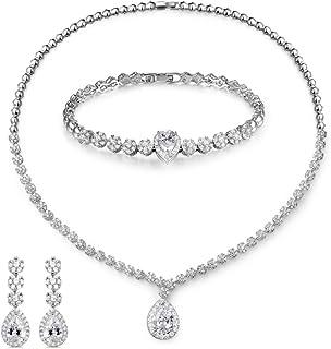 MASOP Fashion Women Wedding Jewelry Sets for Brides AAA Cubic Zirconia Costume Jewelry Necklace Earring Bracelet Set