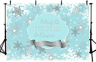 MEHOFOTO Winter Wonderland Photography Studio Backgrounds Party Decorations Snowflake Blue Boy Baby Shower Banner Photo Backdrops 7X5ft