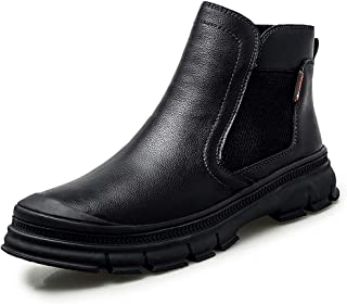 Sunny&Baby Chelsea Boot for Men Ankle Boots Pull on Genuine Leather Elastic Sides Collision Avoidance Toe Anti-Skid (Fleece Lined Optional) Durable (Color : Black (Fleece Inside), Size : 7.5 UK)