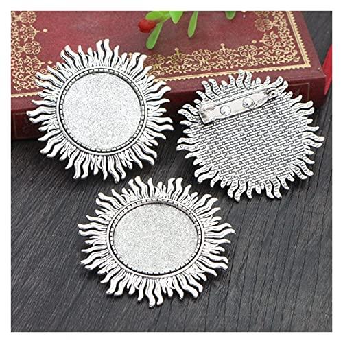 XIAOZHENT bandejas Colgantes 5PCS 25 mm Tamaño Interno Antiguo Plateado Plato Broche de Bronce de Hojas Estilo Cabochon Ajuste (Color : Antique Silver)