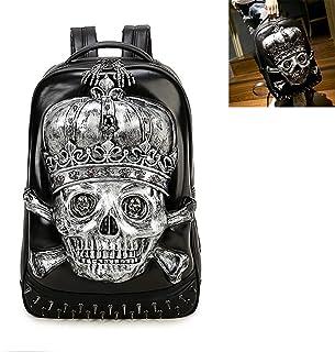 3D Print Skull Backpack,PU Leather Retro Rivet Punk Rock Bag Casual Travel Laptop Fashion Leather Bookbag,Silver