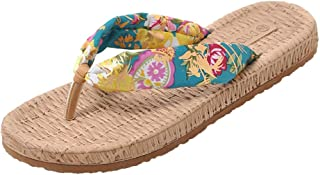 Respctful✿ Women's Floral Print Summer Flats Flip Flops Boho Casual Open Toe Wedge Sandal