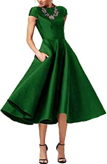 cc8f60e1ae6 Women s Tea Length Mother of The Bride Dress Formal Prom Gown Pocket