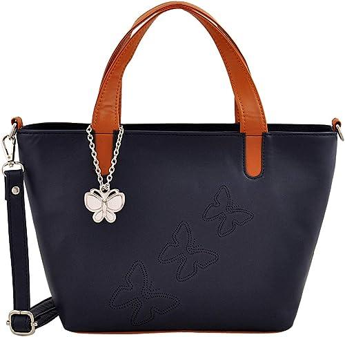 Women Handbag Navy Blue Tan BNS 0716NBL