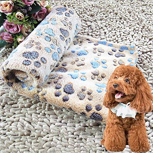 Pet supplies Dog Kennel Mat Footprints Pattern Thick Warm Coral Fleece Pet Dog Blankets, Size: S, 40 * 60cm (Coffee) Fournitures pour chiens Pet care (Color : Coffee)