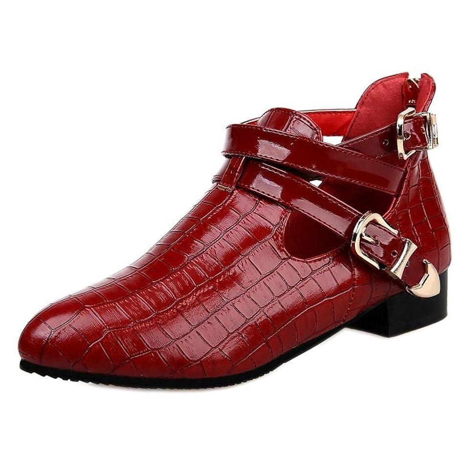 殉教者意気揚々テント[COOLCEPT] レディース ファッション ベルト付き ブーツ ローヒール アンクルブーツ