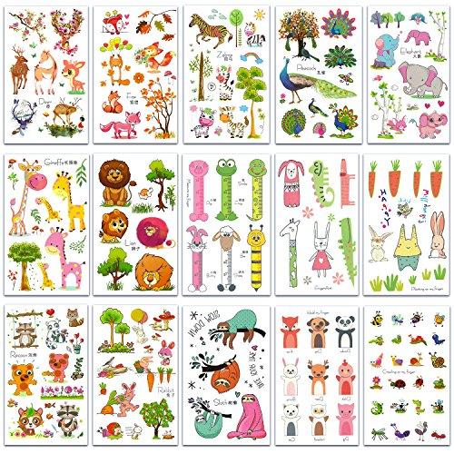 Chileeany Lot de 15 Tatouages Temporaire pour enfants fille garçons Tattoos Étanche 12 x 7.5 cm,motifs variés