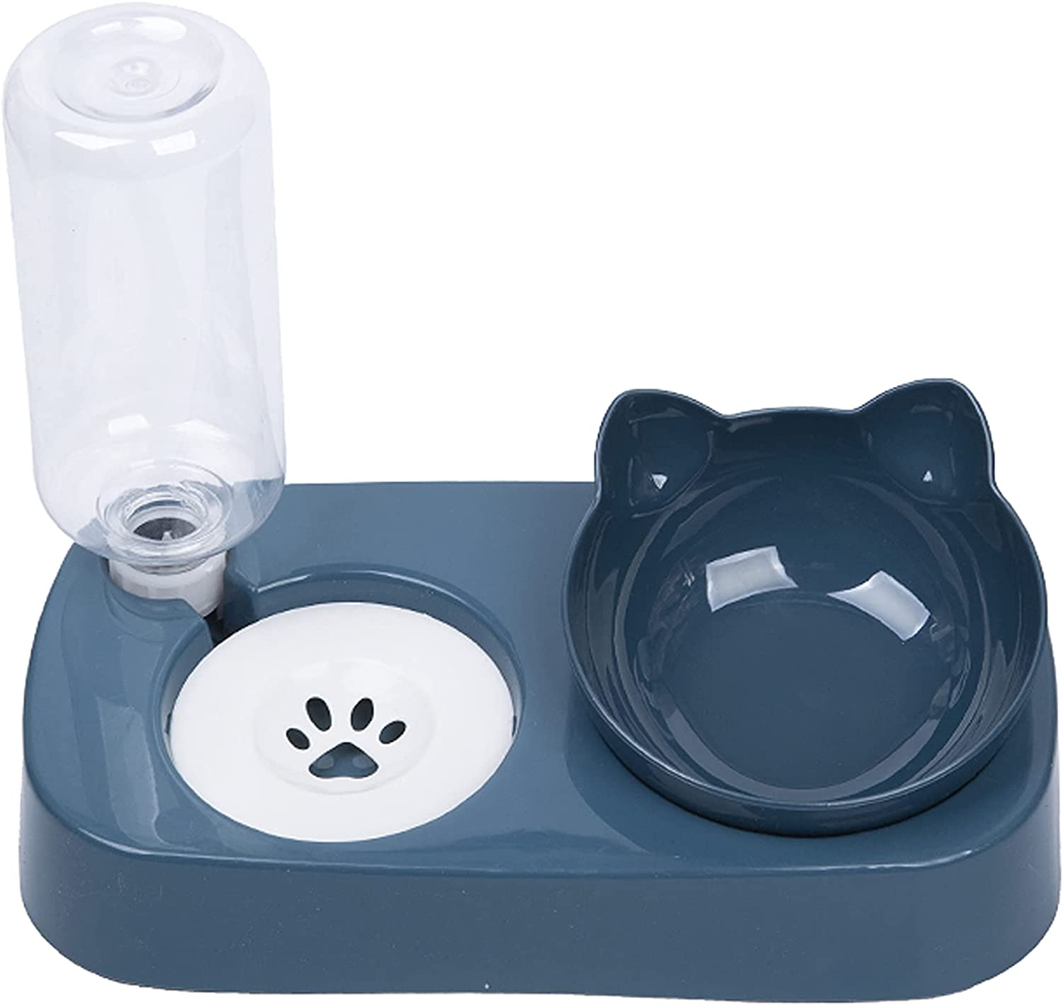 Cat Bowl.Double Bowl Design.Tilted Elevated cat Food Bowls,Automatic Drinking Bowl.Easy to Assemble and disassemble.Suitable for Cats / Small Dogs.(Blue)