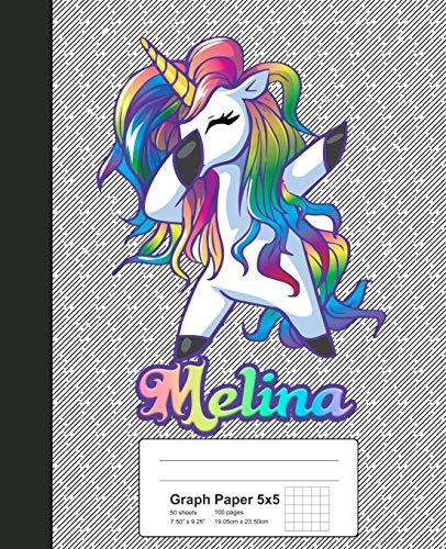 Graph Paper 5x5: MELINA Unicorn Rainbow Notebook (Weezag Graph Paper 5x5 Notebook, Band 1011)
