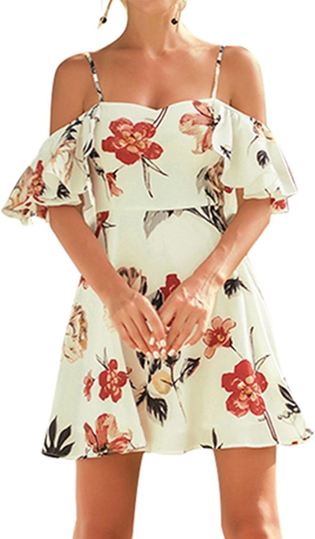 Allfennler Women's Summer Spaghetti Strap Cold Shoulder Loose Waist Floral Prints Knee Length Dress