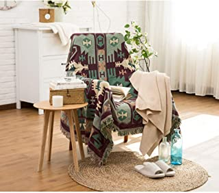 Spring Fever 100% Colorful Cotton Fringe Decorative Home Throw Blanket for Couch/Sofa/Travel Use Color D 35.0