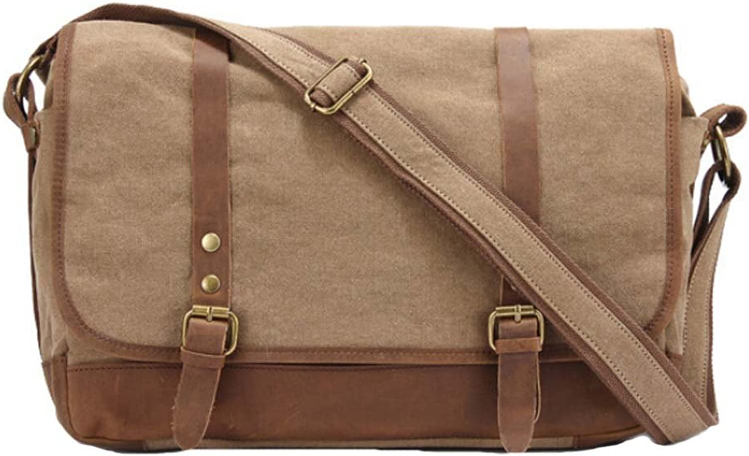 Unisex Vintage Canvas Shoulder Bag Casual School Military Messenger Crossbody Bag (Coffee)