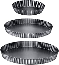 Beaupretty 3pcs Removable Bottom Non Stick Tart Quiche Pan Loose Bottom Quiche Pan Pizza Tart Quiche Bakeware Baking Trays...