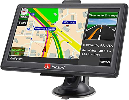 Car GPS Navigation 7 Inch Vehicle GPS Navigation Car System 8G Memory Portable Truck Navigator Touch Screen Multimedia Pre-Installed North America Lifetime Maps Free Update