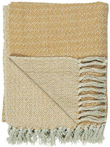 Clockvilla IB Laursen Plaid warmes Gelb/Creme 130 x 160 cm Baumwolle Decke Quilt mit Fransen