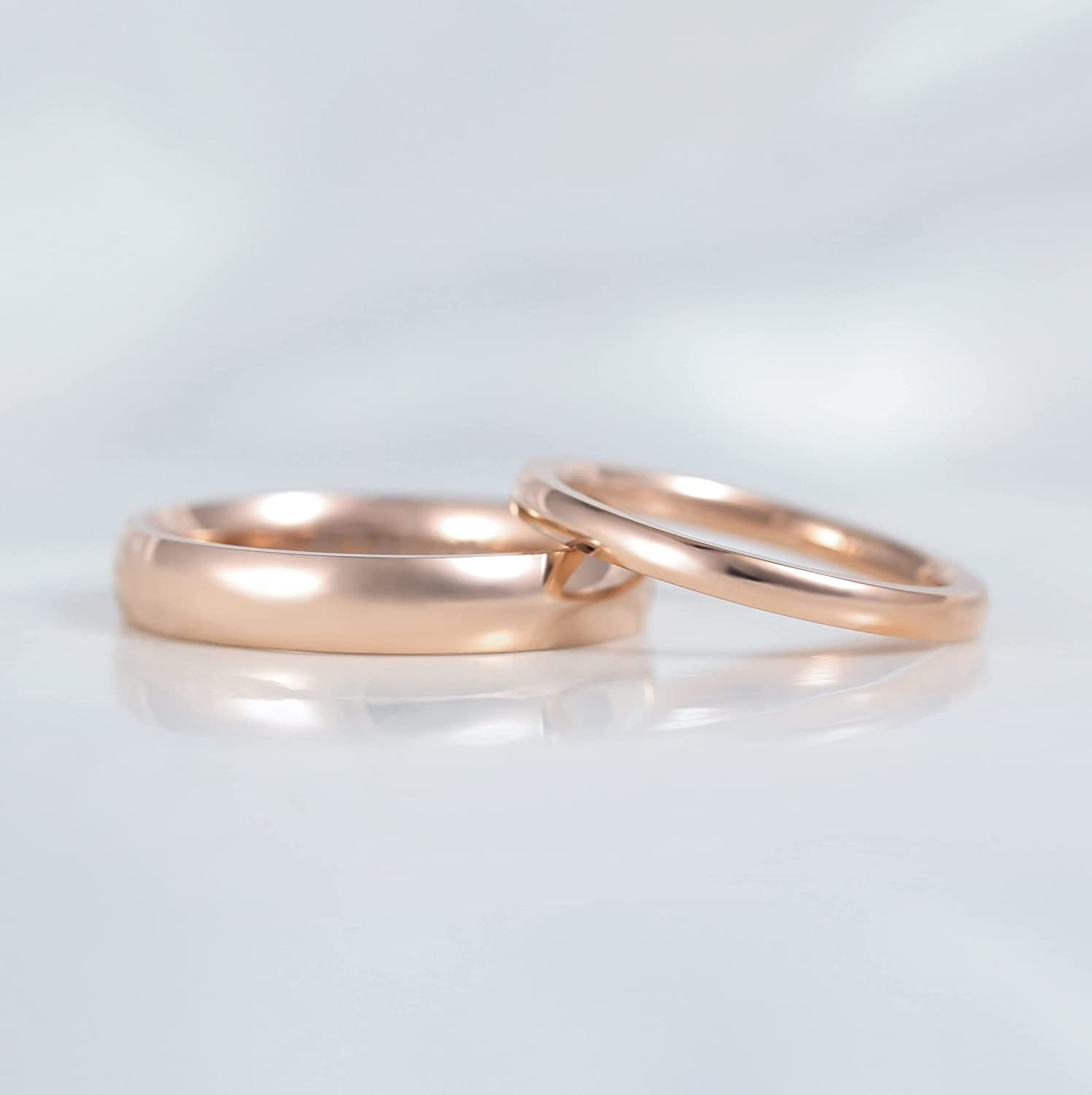 TIGRADE 2mm 4mm Titanium Ring Rose Gold Dome High Polished Wedding Band Comfort Fit Size 3-13.5