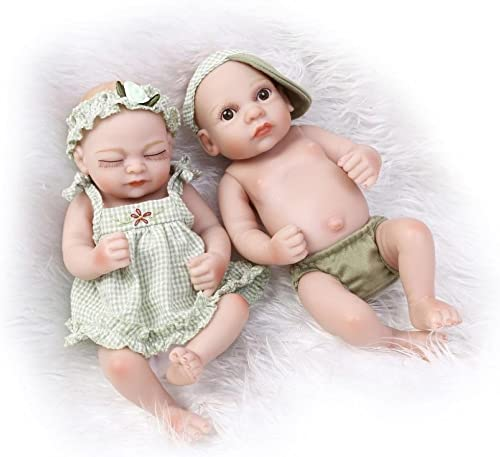 QXMEI Reborn Babypuppen Neugeborenes Lebensechtes Weißes Baby Zwillingspuppen Set, 11 Inch Puppe Spielzeug Niedliche Kleidung Sü Jungen Und mädchen Puppen 27 cm