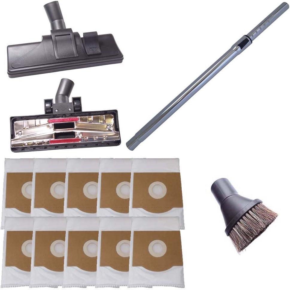 Tubo para aspiradoras 35mm 265mm de anchura boquillas para suelos duros y cepillo redondo incl 10 bolsas para aspiradoras compatibles con Bosch BSA 3100 Sphera 31