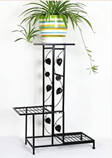 HTTSC Creative Flower Stand.Multi-Storey Living Room Ladder Solid Wood Flower Stand (Color : Black, Size : One Size)