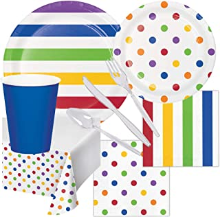 Rainbow Birthday Party Supplies Pack Set Dots and Stripes Set 16 Guests Children Adults Paper Plates, Napkins, Paper Cups, Cutlery Utensils, Table Cover Disposable Tableware for Food Cake Home School